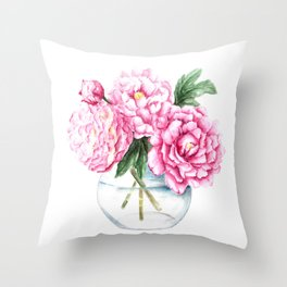 Pink Peony Painting, Watercolor Peony Art, Pink Flower Bouquet Throw Pillow