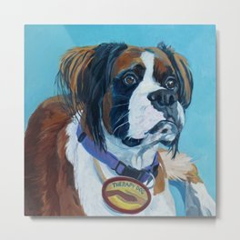 Nori the Therapy Boxer Dog Portrait Metal Print