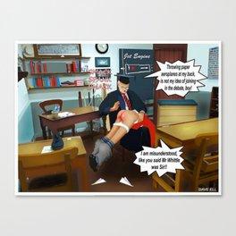 Naughty Schoolboy Spanking Cartoon Comics Canvas Print