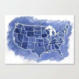 Watercolor Map of America Canvas Print