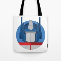 optimus prime Tote Bags featuring Optimus Prime Dots.  by Federico Giuliani