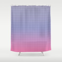 Pink and Purple Pastel Grid Aesthetic Fade Shower Curtain