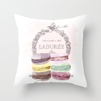 macaroon Throw Pillows featuring French Macaroon, Kitchen Art, Pastel by PeachAndGold