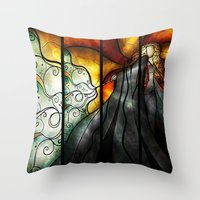 mandie manzano Throw Pillows featuring Expecto Patronum by Mandie Manzano