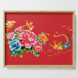 chinese peonies and phoenix Serving Tray
