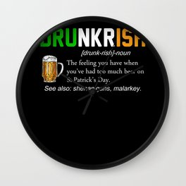 drunkrish ireland flag Wall Clock