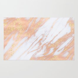 Marble - Rose Gold with Yellow Gold Glitter Shimmery Marble Rug