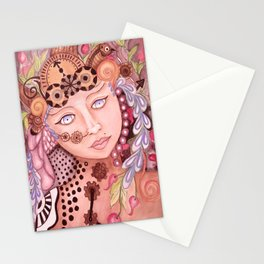 Steam punk woman watercolor themed art Stationery Cards