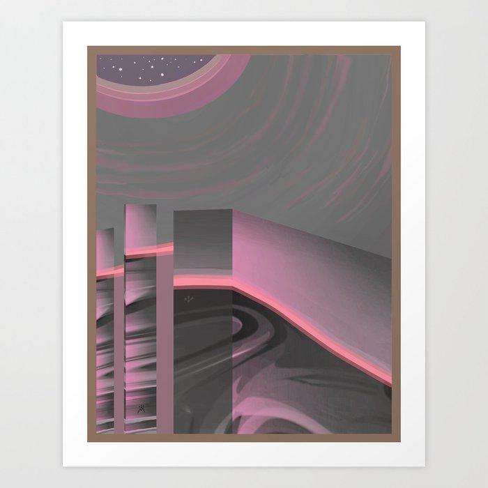Claraboya, Geodesic Habitacle, Pink neon room Art Print