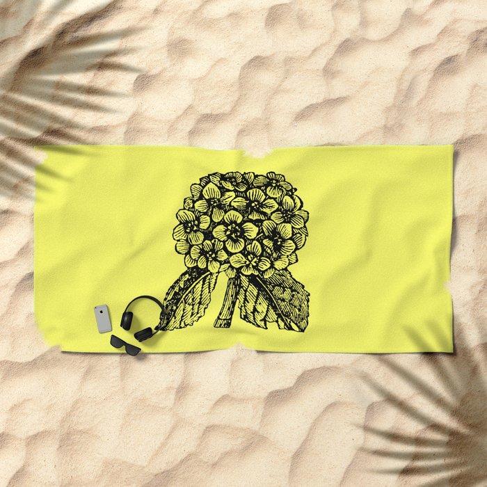 Yellow Hydrangea Beach Towel