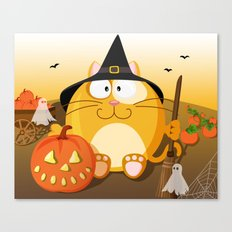 Halloween cat from month series October Canvas Print
