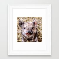 piglet Framed Art Prints featuring scribbled Piglet by MehrFarbeimLeben