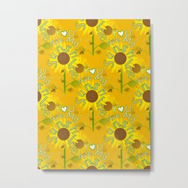 Seamless Sunflowers Metal Print