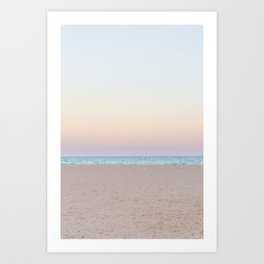 pink and blue sky sunset at the beach in Sardinia Island Italy photography print Art Print