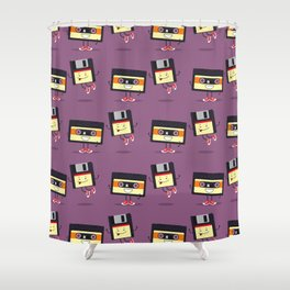 Floppy disk and cassette tape Shower Curtain