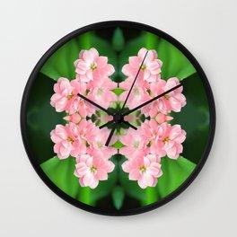 Fresh Rose Quartz color Kalanchoe flowers surreal shaped symmetrical kaleidoscope Wall Clock