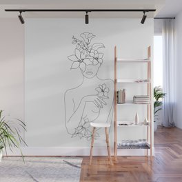 Minimal Line Art Woman with Flowers IV Wall Mural
