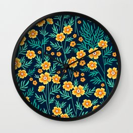 "Cute Floral pattern in the small yellow flower. ""Ditsy print"". Wall Clock"