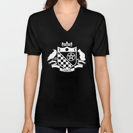 Cabot Crest (White on Black) Unisex V-Neck