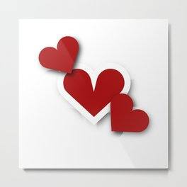 Three hearts Metal Print