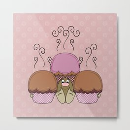 Cute Monster With Orange And Red Frosted Cupcakes Metal Print