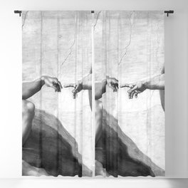 Black and White Creation of Adam Painting by Michelangelo Sistine Chapel Blackout Curtain
