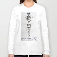burlesque Long Sleeve T-shirts featuring Burlesque by Frances Roughton