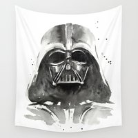 darth vader Wall Tapestries featuring Darth Vader by Olechka