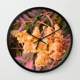 Pale Yellow and Green Sideways Sumac Wall Clock