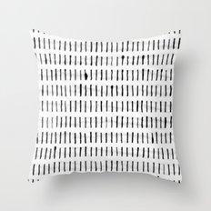 Black Ink Woodstock Pattern on White Throw Pillow
