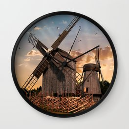 Traditonal dutch windmills at sunrise Wall Clock