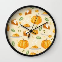 pumpkin Wall Clocks featuring pumpkin by Ceren Aksu Dikenci