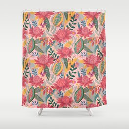 Australian Floral in Blush Shower Curtain