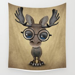 Cute Curious Baby Moose Nerd Wearing Glasses Wall Tapestry