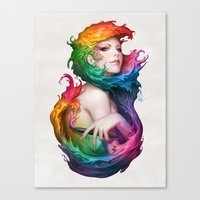 rainbow Canvas Prints featuring Angel of Colors by Artgerm™