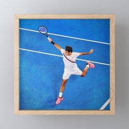 Flying Federer Tennis Backhand Framed Mini Art Print
