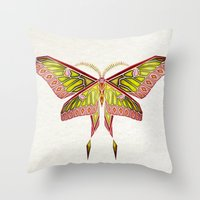 moth Throw Pillows featuring moth by Manoou