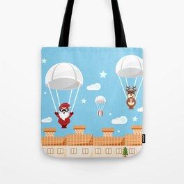 Santa Claus and reindeer parachutists delivering presents Tote Bag