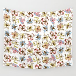 Silk Screen Floral Wall Tapestry