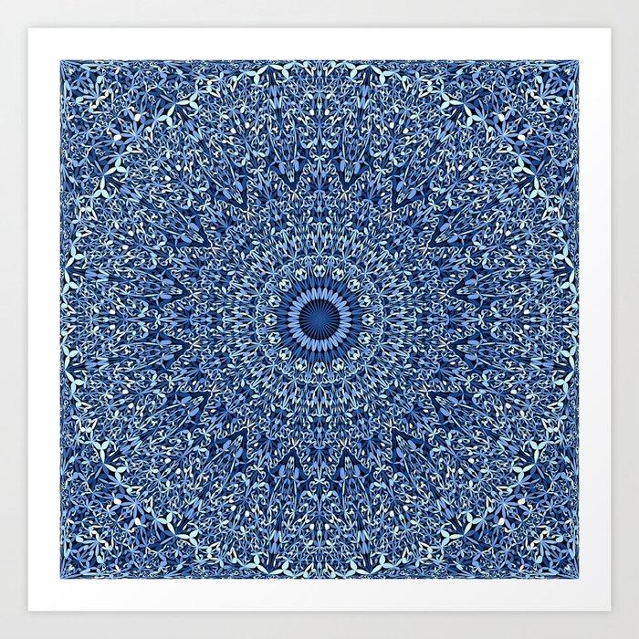 Sacred Blue Garden Mandala Art Print