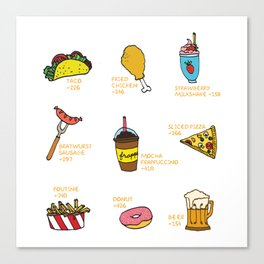 Calorie Counting Junk Food Canvas Print