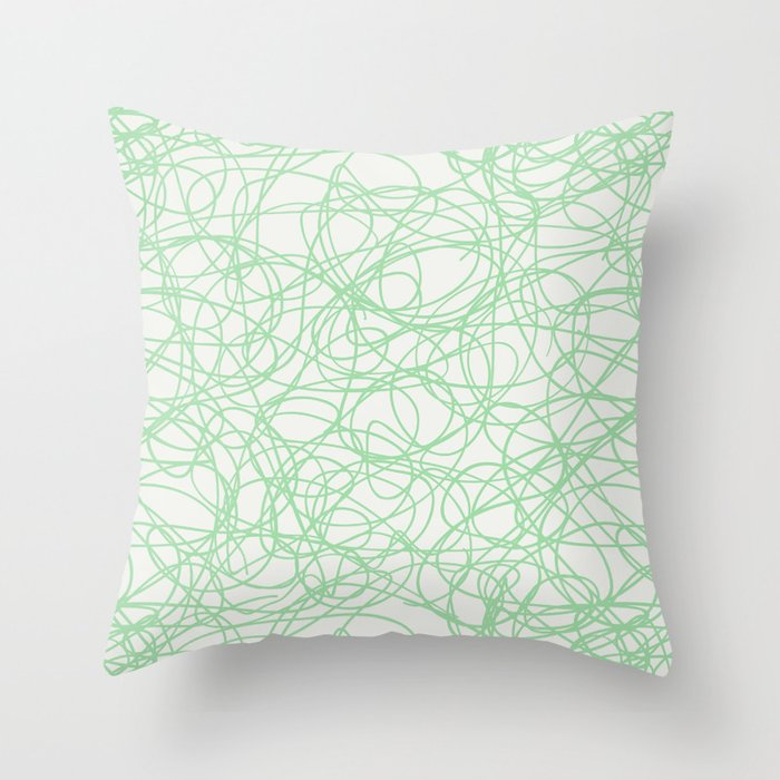 Pastel Mint Green Thick Scribble Mosaic Pattern on Off White Matches Neo Mint 2020 color of the year Throw Pillow