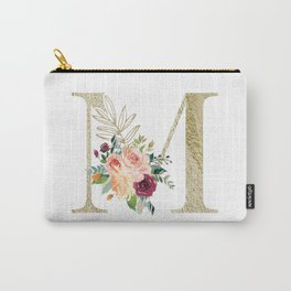M Monogram Gold Foil Initial with Watercolor Flowers Carry-All Pouch
