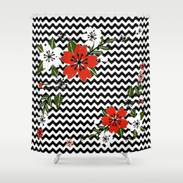Floral on Black and White Background Shower Curtain