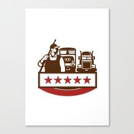 Power Washer Worker Truck Train Stars Retro Canvas Print