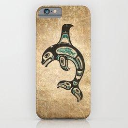 Blue and Black Haida Spirit Killer Whale iPhone Case
