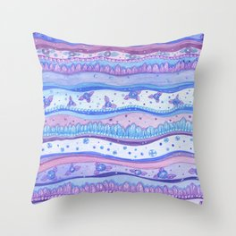 Pink And Blue Stripes Rose Quartz And Serenity Forest Throw Pillow