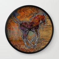 pony Wall Clocks featuring Pony by evisionarts