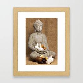 Kivi coffee beans garlic Physalis Snail Shell Buddha Framed Art Print