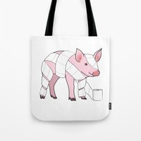 piglet Tote Bags featuring Piglet by Doctor Hue